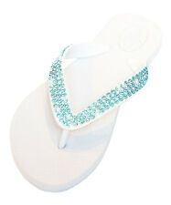 Luxury Crystal Bling Wedding, Bridal or Beach Flip Flops White 200+ Blue Stones