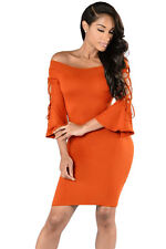 Cut out Flare Sleeves Off-shoulder Mini Bodycon Party Cocktial Dress Sexy New