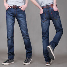 Men's Long Straight Slim Leg Denim Pants Classical Dark Blue Jeans Trousers New