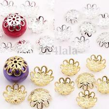 100Pcs Silver/Gold Plated Metal Flower Spacer Bead Caps Jewelry Finding 10/12mm