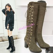 Fashion Womens Lace Up High Block Heels Knee Boot Faux Suede Riding Shoes Punk
