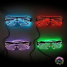 EL Glasses – Glowing Shutter Glasses in Black with Choice of Drivers