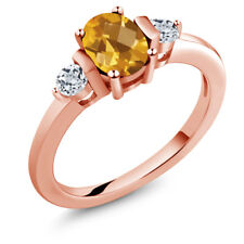0.98 Ct Oval Checkerboard Yellow Citrine White Topaz 18K Rose Gold Ring