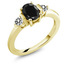 1.27 Ct Oval Black Sapphire White Diamond 18K Yellow Gold Plated Silver Ring