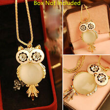 Fashion Owl Opal Pendant Crystal Statement Necklace Jewelry Long Sweater Chain