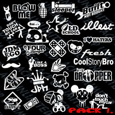 JDM Mega Sticker Pack Stance Low Vinyl Decals, 30 Stickers Color of choice