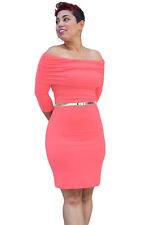 Off Should Three Quarter Sleeve Ruched Overlay Bust Bodycon Dress women summer