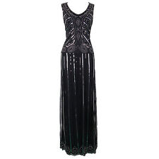 Flapper Girl Women's 1920s Sequin Maxi Long Black Cocktail Prom Gatsby Dress