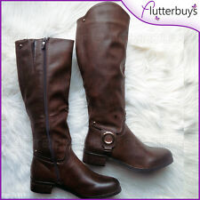 Womans Brown Knee High Boots Faux soft Leather Soft Lined Riding Ladies Size