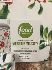 Food Network Holly And Pine Poinsettia Christmas Tablecloth