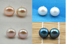 Chic 12mm round freshwater pearl earring 925sterling silver stud