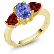 2.24 Ct Oval Blue Tanzanite Red Garnet 18K Yellow Gold Plated Silver Ring