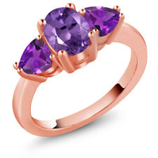 1.80 Ct Oval Purple Amethyst 18K Rose Gold Plated Silver Ring