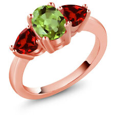 2.41 Ct Oval Green Peridot Red Garnet 18K Rose Gold Plated Silver Ring