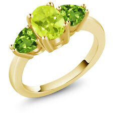 2.06 Ct Oval Yellow Lemon Quartz Green Peridot 14K Yellow Gold Ring