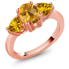 2.07 Ct Oval Checkerboard Yellow Citrine 18K Rose Gold Ring