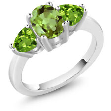 2.29 Ct Oval Green Peridot 925 Sterling Silver Ring