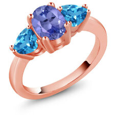2.32 Ct Oval Blue Tanzanite Swiss Blue Topaz 18K Rose Gold Ring