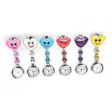 Smile Face Heart Clip-on Nurse Doctor Brooch Pendant Fob Pocket Quartz Watch SP