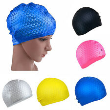 Pop Adults Waterproof Silicone Stretch Swim Long Hair Cap Hat With Ear Cup SP