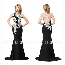 Sexy Black Mermaid Applique Evening Prom Cocktail Party Formal Dress Ball Gown