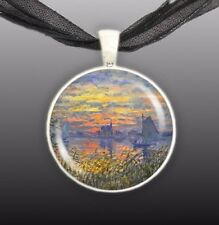 """Sailboats at Sunset Monet Art Painting 1"""" Pendant Necklace in Silver Tone"""