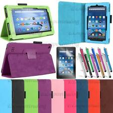 Auto Sleep/Wake PU Leather Stand Folio Cover case for Amazon Fire Tablet + Film