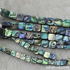 """6 8 10mm 12mm Square Natural Paua Abalone Shell Jewelry Making Loose Beads 15"""" A"""