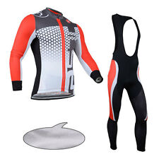 Thermal Fleece Mens Cycling Jersey Shirt Jackets Bib Pants Tights Winter Outfits