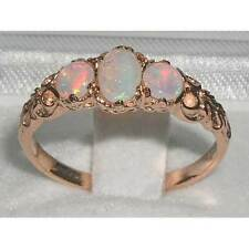 Womens Solid 14K Rose Gold Natural Fiery Opal Victorian Style Trilogy Ring