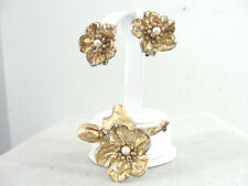Vintage Napier Sterling Vermeil Flower Brooch Earrings Set Demi