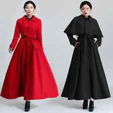 Winter Womens Wool Maxi Coat Trench Cape Poncho Black Red Dress Overcoat Parka