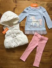NWT Gymboree COZY FAIRYTALE Girls 12-18 Months Unicorn Tee, Pink Pants & Vest