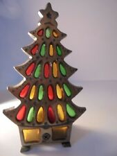Vintage Metal & Multi-Colored Stained Glass CHRISTMAS TREE Candle Holder Holiday