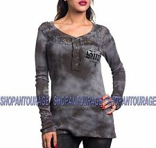 SINFUL Angel Wings S3926 Women`s New Silver Henley Thermal By Affliction
