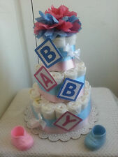 3 Tier My B-A-B-Y Diaper Cake Baby Shower Centerpiece Boy Girl Unisex