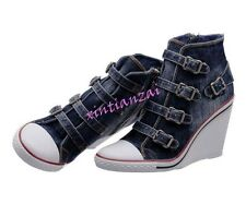New Womens High Top Denim Buckle Strap High Wedge Heel Sneakers Boots Shoes