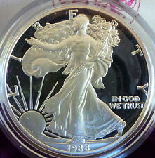 1988-S 1 oz Proof Silver Bullion American Eagle Dollar (w/Box & CoA)