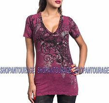 SINFUL Blackwater Park S3925 Women`s Reversible Short Sleeve Top By Affliction