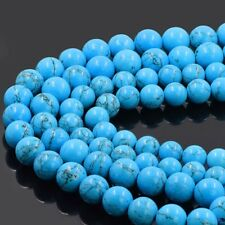 Unisex Blue Howlit Bracelet Organic Turquoise Stone Beads Bangle Length 7.5 ""