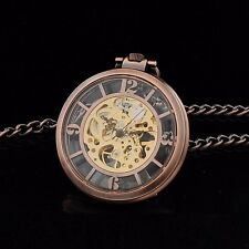 NEW ARABIC NUMERALS OPEN FACE SKELETON DIAL WIND UP MECHANICAL POCKET WATCH MEN