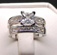Kristie Princess Cut Bridal Engagement and Wedding Band Ring Set