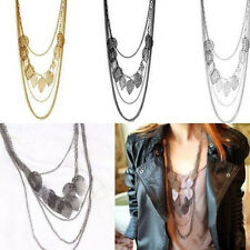 Women Multi-layer Necklace Fashion Leaf Pendant Long Sweater Chain Gold Popular