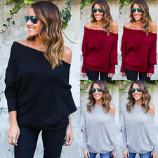 Womens Off Shoulder Baggy Ladies Top Chunky Knit Knitted Oversize Sweater Jumper