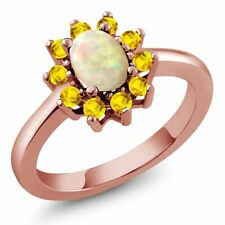 1.01 Ct Oval Cabochon White Ethiopian Opal Yellow Sapphire 14K Rose Gold Ring