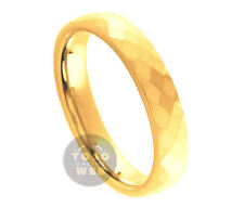Ladies 4mm Faceted Cut Yellow Gold IP Tungsten Comfort Fit Band TS2500