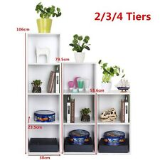 White Wooden Storage Cube Bookcase Cupboard Cabinet Shelf Display-- 2,3,4 Tiers