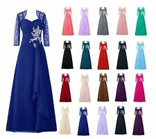 New Long Chiffon Mother of the Bride  Formal Occasion outfit/suit Jacket Free