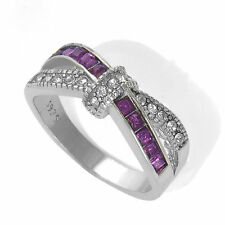 Purple Amethyst Criss Cross Ring White Gold Filled Ring Rings Jewelry size 6-10