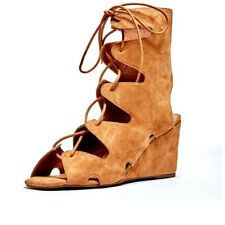 JEFFREY CAMPBELL ROMILLY TAN SUEDE LACE UP GLADIATOR WEDGE ANKLE HIGH SANDALS